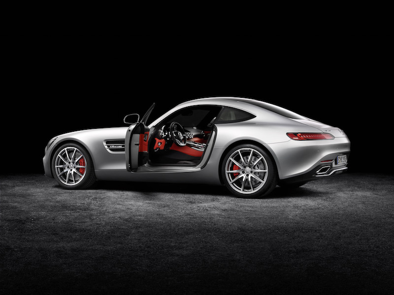 Mercedes-AMG GT (C 190) 2014, Studio, exterior: designo iridium silver magno; interior: exclusive nappa leather AMG red pepper/black